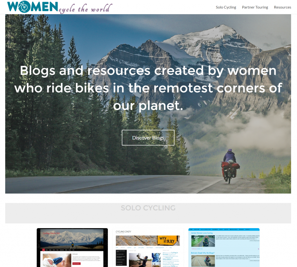 women cycle the world website screenshot
