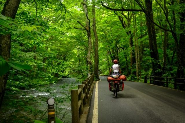 Bicycle touring in Towada Hachimantai National Park, Japan