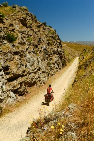 Cycling Central Otago Rail Trail, South Island, New Zealand.