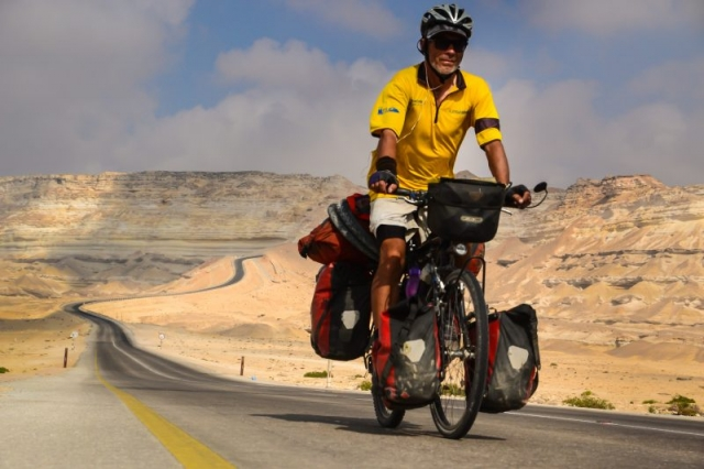 Bicycle touring in Oman.