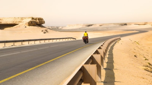 Oman bike touring.