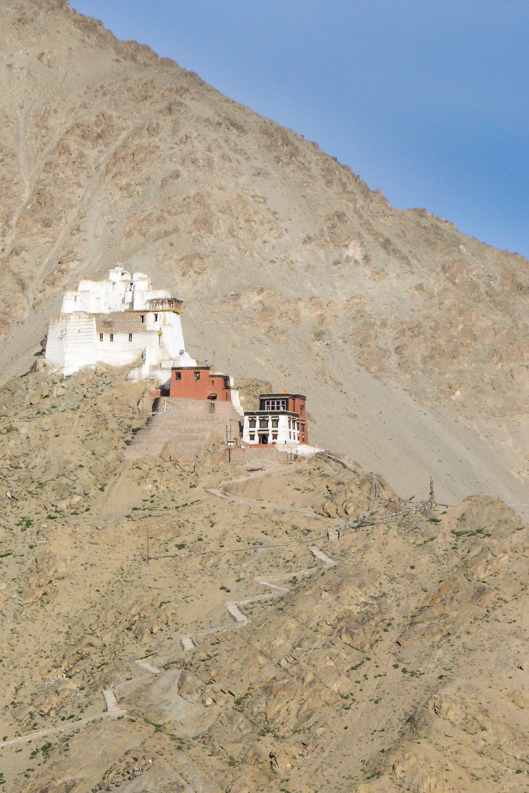Buddhist temple perched high in the Himalaya.
