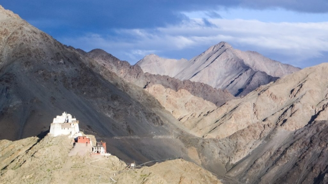 Himalayan peaks and ancient temples, Ladakh, India.