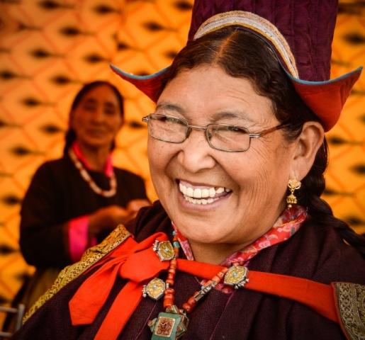 Ladakhi woman in traditional dress, Leh, India.