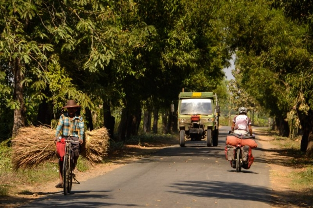 Sharing the road in Myanmar.